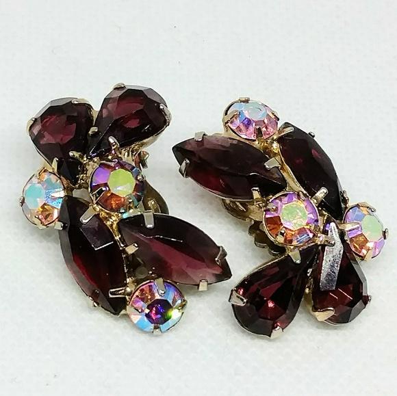 141c289d1442e Vintage prong set purple & AB rhinestone clip ons
